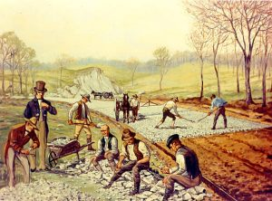 A Carl Rakeman painting of the first Macadam Road in the United States.