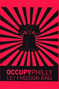 "red and black flyer with image of liberty bell and text ""Occupy Philly Let Freedom Ring."""