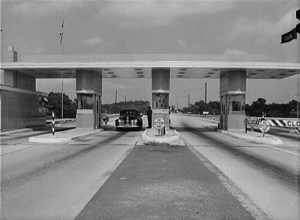 A 1942 photograph of a toll booth along the Pennsylvania Turnpike.