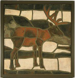 Framed mosaic of an elk.