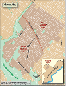 map showing Mount Airy location within Philadelphia, and larger map with West and East Mount Airy shown