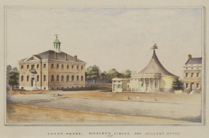 Color print depicting Ricketts' circus tent in Philadelphia.