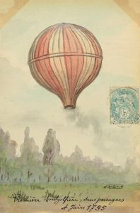 Photograph of the first public demonstration of a hot air balloon flight by the Montgolfier brothers in Annonay, France.