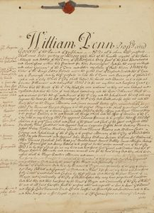 Photograph of William Penn's 1701 City Charter for Philadelphia.