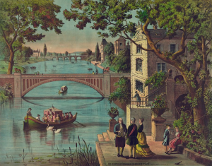 Chromolithograph depicting Franklin standing next to several French individuals along a river.