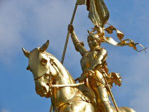 Sculpture of Joan of Arc near the Philadelphia Museum of Art.