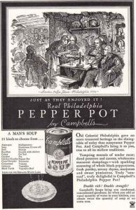Campbell Soup advertisement for their pepper pot cans.
