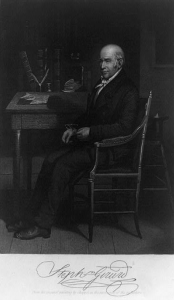 Steel engraving of Stephen Girard.