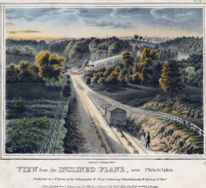 a color illustration of the Belmont inclined plane, a cable-driven mechanism for pulling rail cars up a slope to overcome the hilly landscape of Philadelphia's hinterlands.