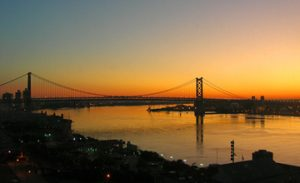 Photograph of the Ben Franklin Bridge at sunrise.