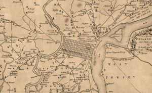 1777 Map of the short road stretches leading into Philadelphia