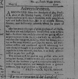 Advertisement for the runaway enslaved person named Oney Judge.